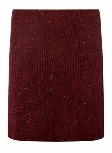 Womens Wine Textured Glitter Skirt- Red, Red