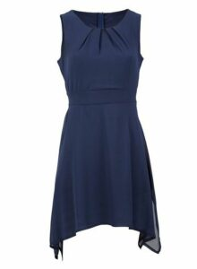 Womens *Izabel London Navy Hanky Hem Dress- Navy, Navy