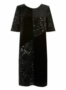 Womens **Tall Black Cut About Sequin Velvet Shift Dress- Black, Black