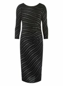 Womens **Billie & Blossom Tall Black Zebra Print Bodycon Dress- Black, Black