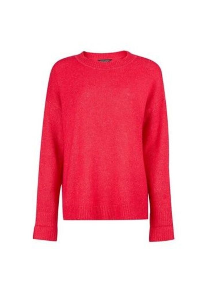 Womens Pink Step Hem Knitted Jumper- Pink, Pink