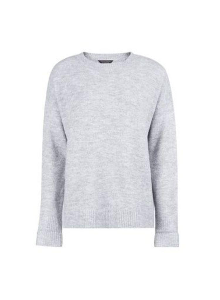 Womens Grey Step Hem Knitted Jumper- Grey, Grey