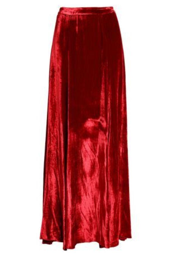 Alice + Olivia Woman Fluted Velvet Maxi Skirt Crimson Size 0