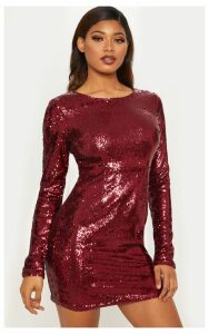 Tall Burgundy Sequin Long Sleeve Bodycon Dress, Red