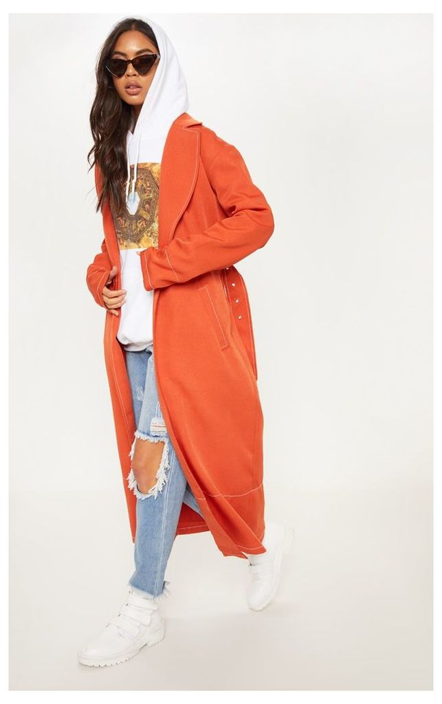 Rust Belted Trench, Orange