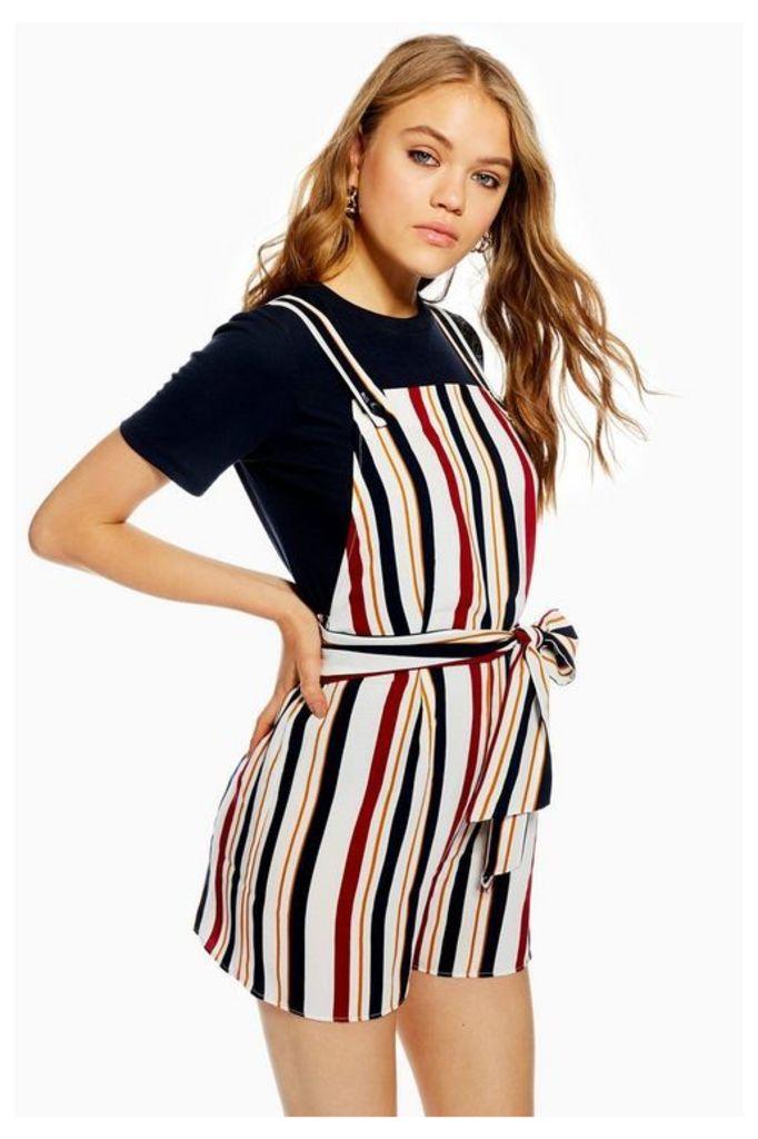 Womens Striped Pinafore Playsuit - Multi, Multi