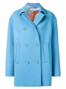Emilio Pucci Blue Double-Breasted Pea Coat