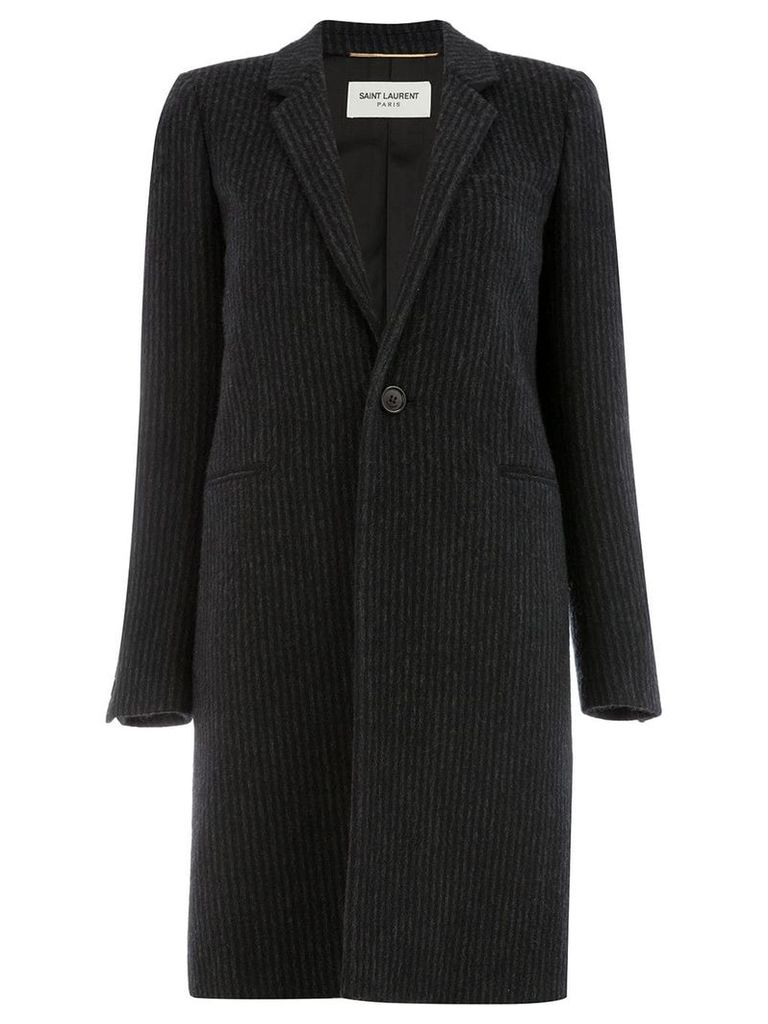 Saint Laurent striped single-breasted coat - Black