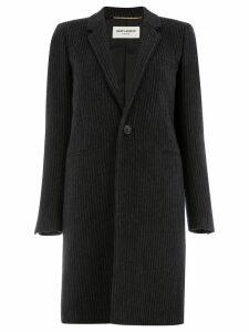 Saint Laurent striped single-breasted coat - Black