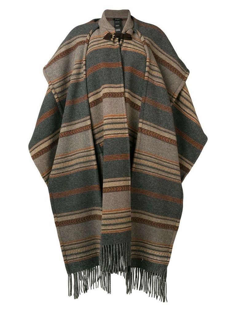Etro striped oversized cape coat - Brown