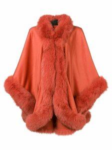Liska fox fur trim cape - Orange