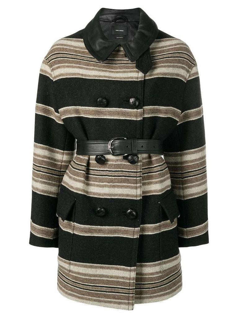 Isabel Marant Hilda striped coat - Black
