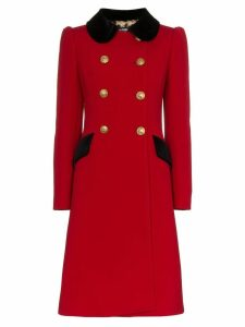 Dolce & Gabbana double-breasted contrast collar wool blend coat - Red