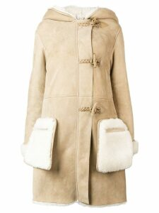 Golden Goose hooded shearling coat - Neutrals