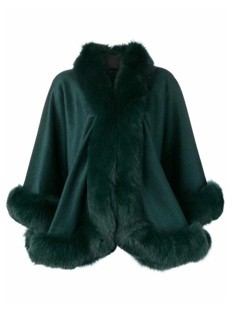 Liska oversized fur-trimmed coat - Green