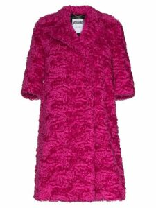 Moschino Mid-sleeve faux-fur mohair blend coat - Pink