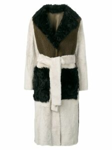 Yves Salomon tricolour shearling trench coat - Green