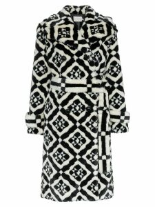 Mary Katrantzou Stokes faux fur tile print coat - Black