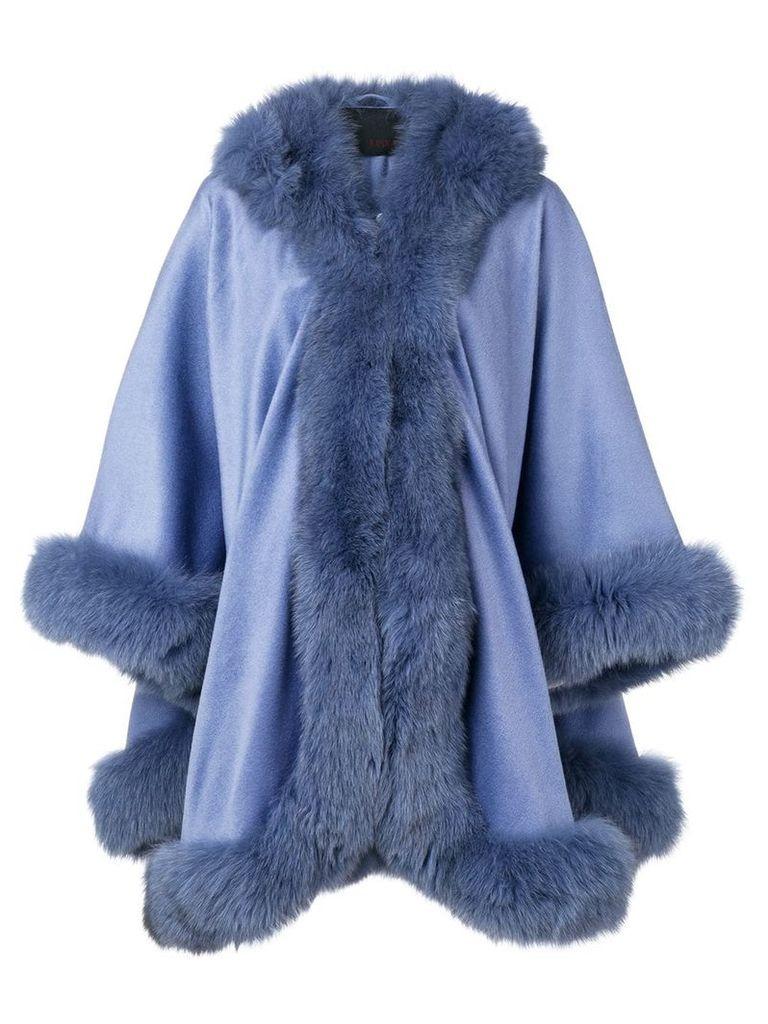 Liska hooded fur-trimmed coat - Purple