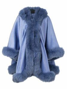 Liska hooded fur-trimmed coat - Purple