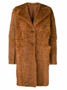 Salvatore Santoro single-breasted fur coat - Brown