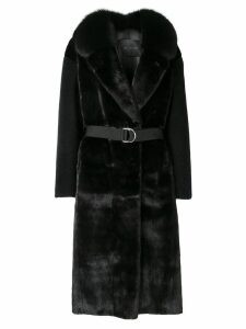 Blancha contrast sleeve coat - Black