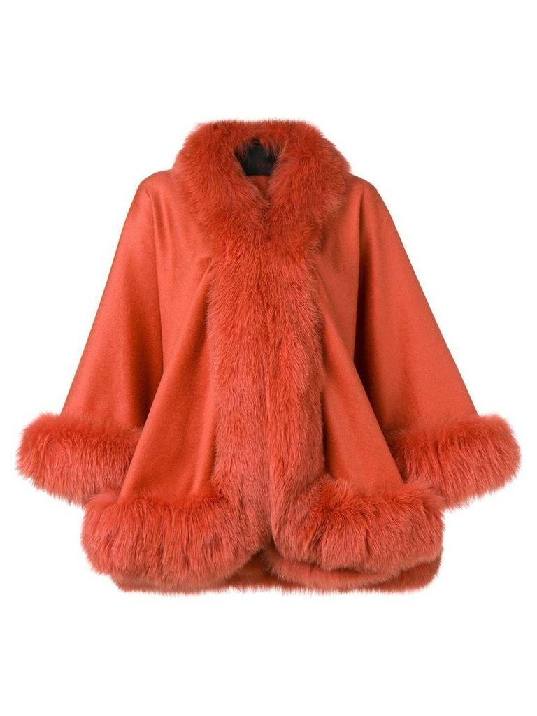 Liska oversized fur-trimmed coat - Orange