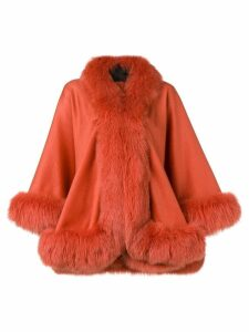 Liska oversized fur-trimmed coat - Orange