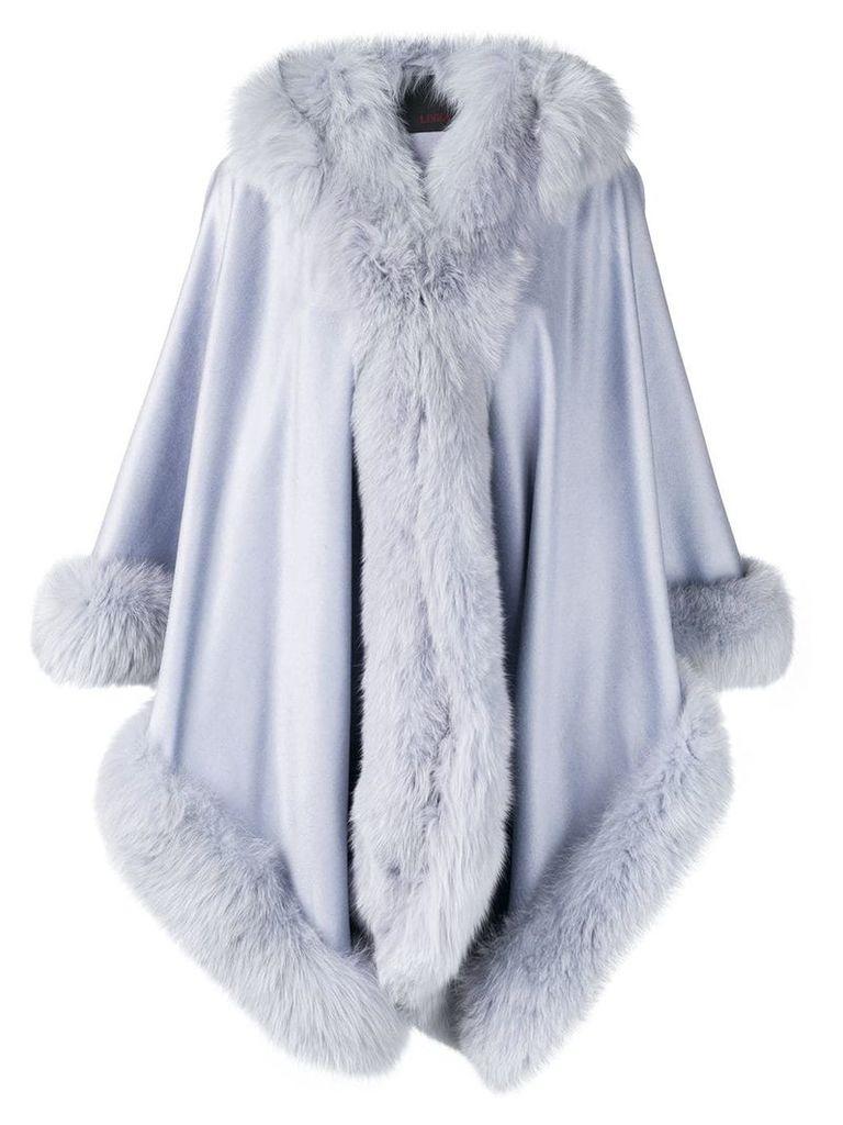 Liska hooded fur-trimmed coat - Blue