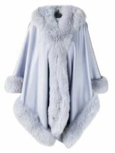 Liska hooded fur-trimmed coat - Blue