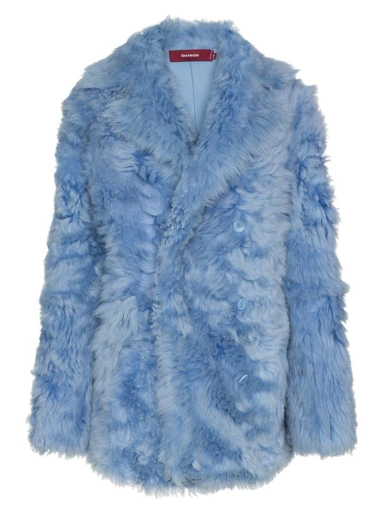 Sies Marjan lapel-collar shearling coat - Blue