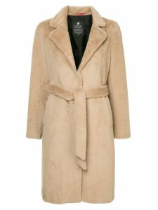 Loveless faux fur belted coat - Neutrals