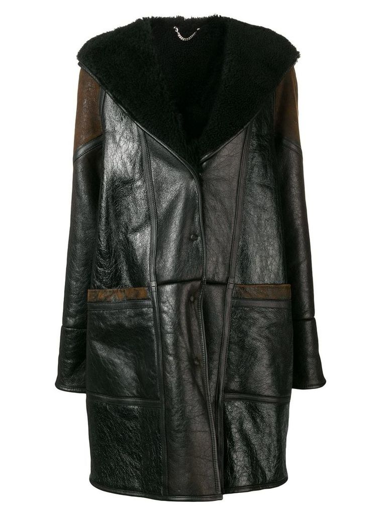 Golden Goose hooded panelled midi coat - Black