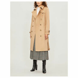 Burberry Womens Camel Brown Check The Heritage Long Kensington Cotton Trench Coat