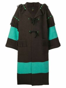 Alanui contrast stripe oversized coat - Brown
