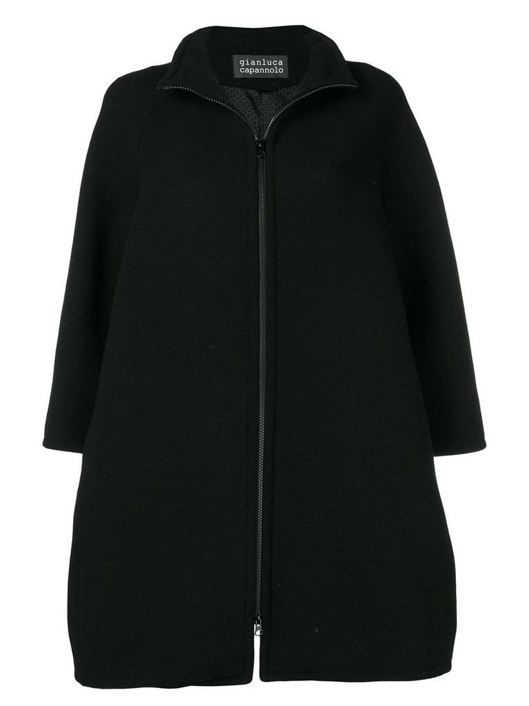 Gianluca Capannolo zip-up flared coat - Black