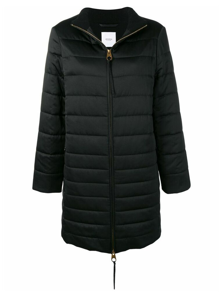Agnona zipped padded coat - Black