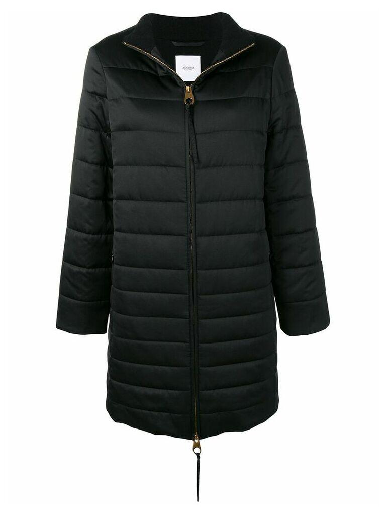 Agnona zipped padded coat - Black