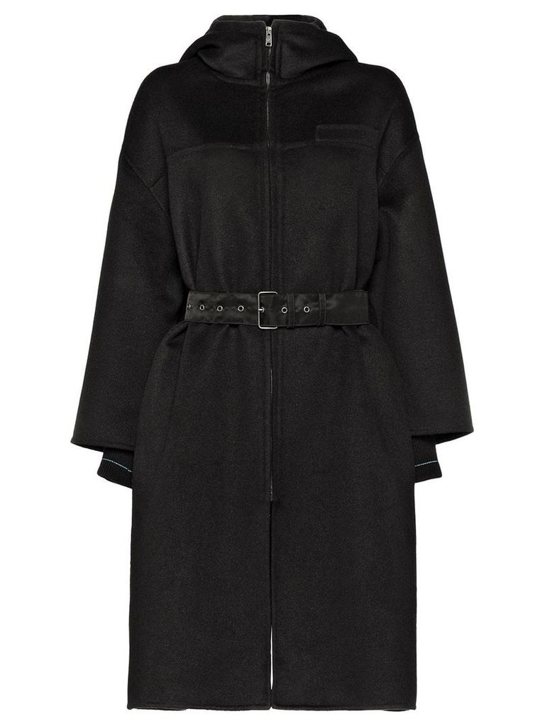 Prada belted hooded coat - Black