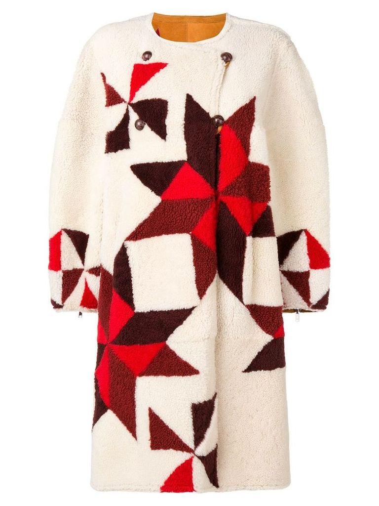 Isabel Marant reversible intarsia coat - Neutrals
