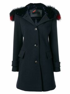 Rrd fur trim hooded coat - Blue