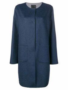 Liska cashmere collarless coat - Blue