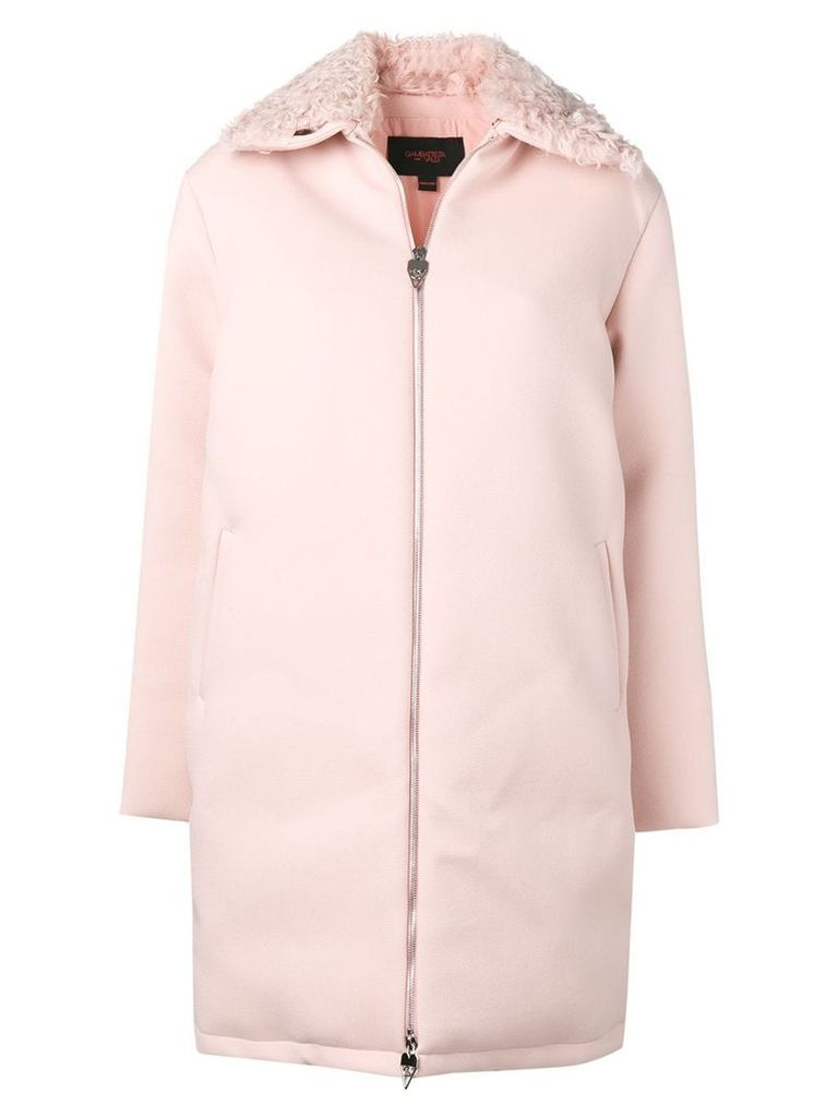 Giambattista Valli fur trimmed zip-up coat - Pink