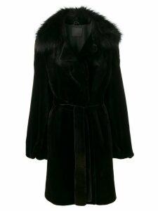 Liska belted fur timmed coat - Black