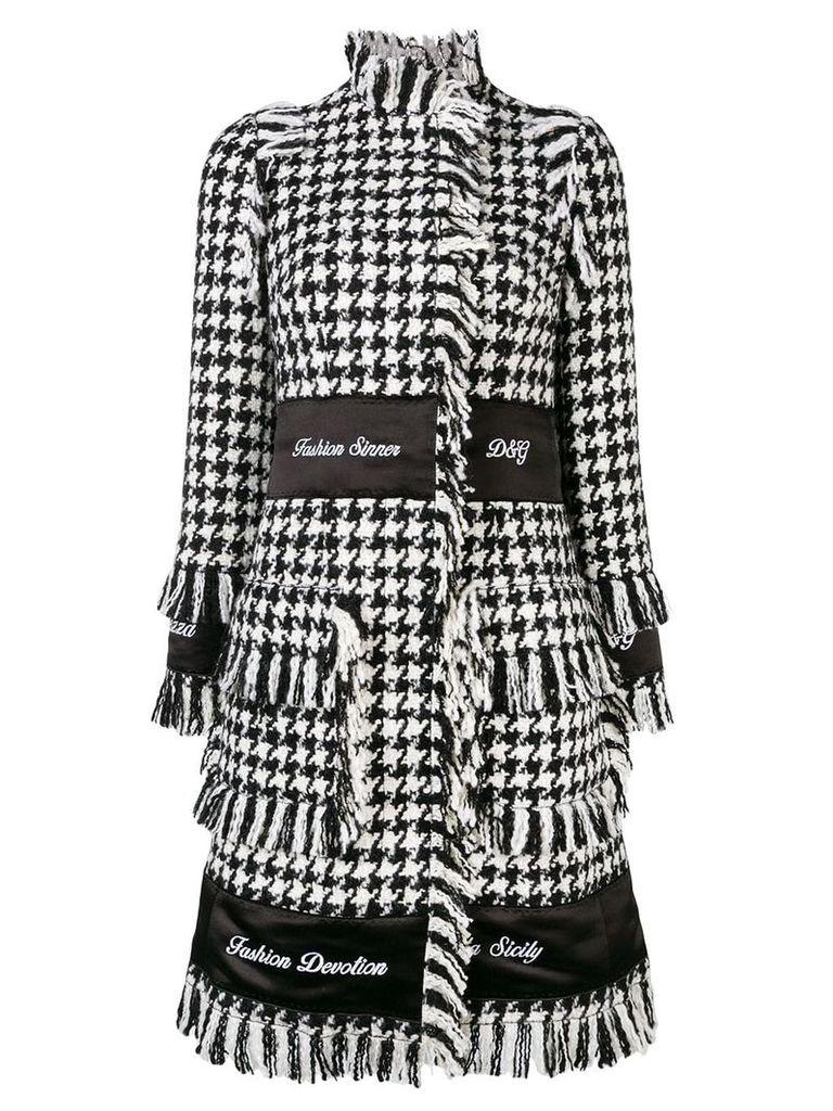 Dolce & Gabbana houndstooth embroidered coat - Black