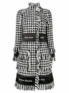 Dolce & Gabbana houndstooth embroidered coat - Black