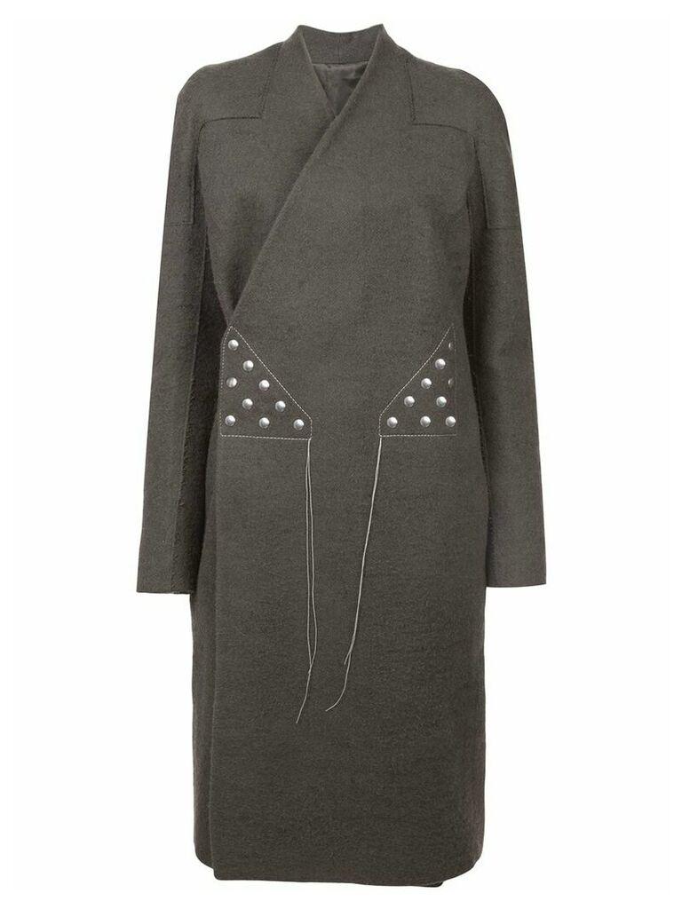 Rick Owens stitching wrap-around coat - Grey