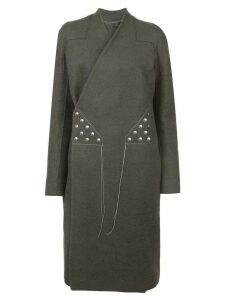 Rick Owens stitching wrap-around coat - Grey