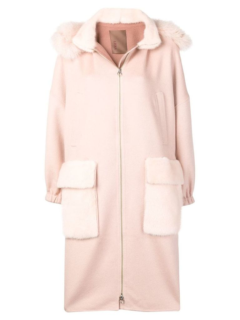 Liska fur trimmed hooded coat - PINK