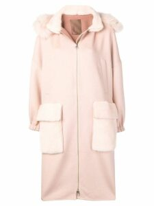 Liska fur trimmed hooded coat - Pink
